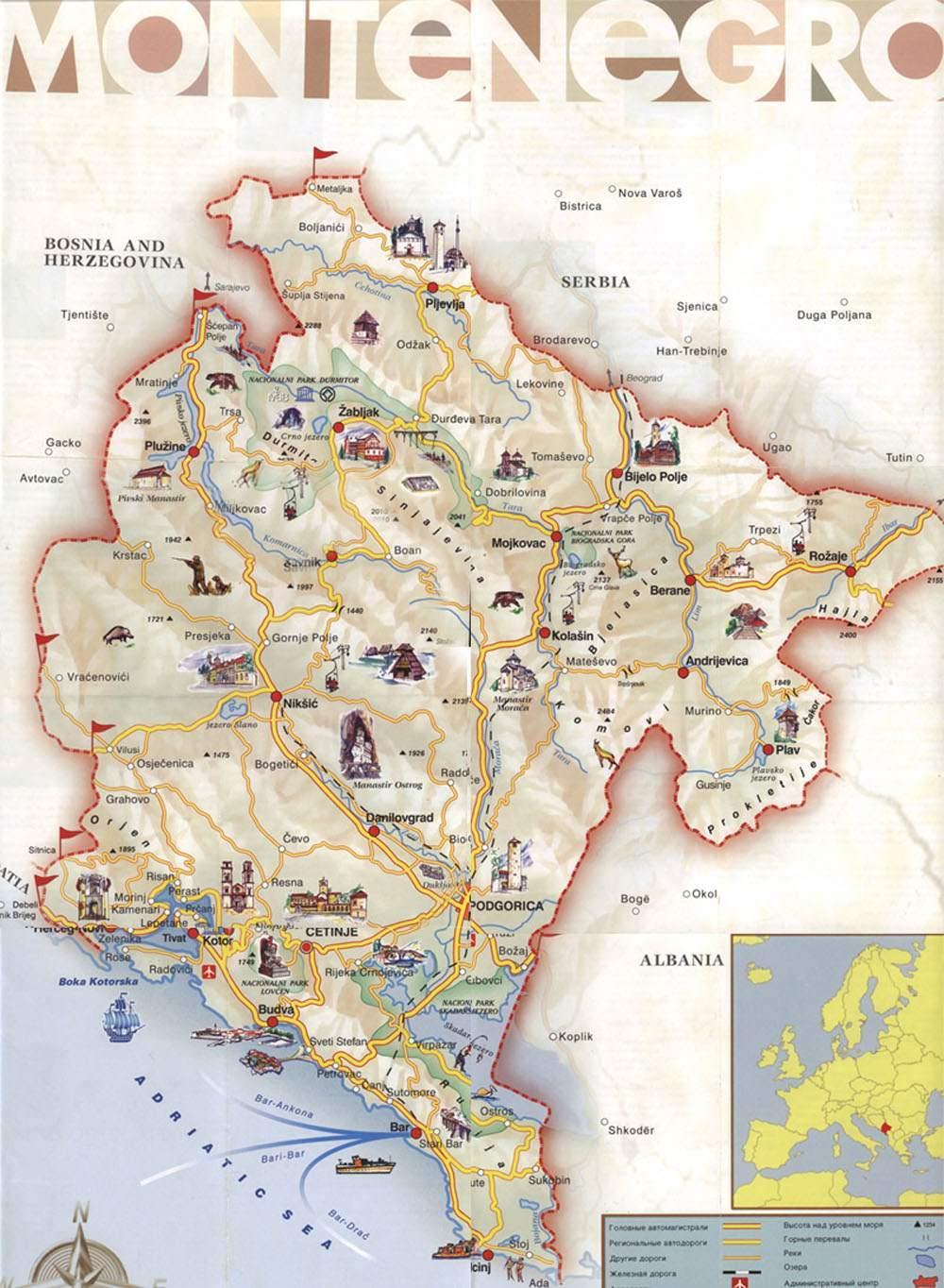 Montenegro_maр Черногория Черногория Montenegro ma D1 80